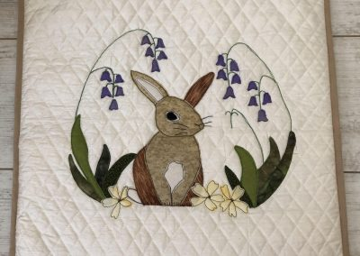 Jo Whitmore - Applique Rabbit on pre-quilted fabric