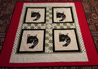 Lorna Lafferty -The Buddy Cat Quilt hand painted on calico - quilted by Tomomi McElwee